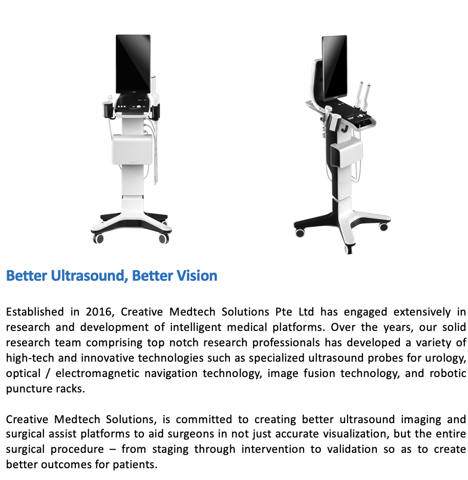 creative medtech solutions pte ltd, ultrast, ultrasound, prostate, uology ultrasound, biopsy